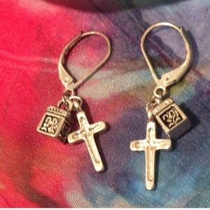 Vintage Prayer Box & Silver Cross  Earrings